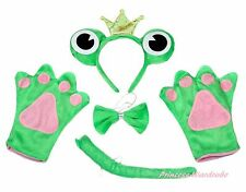 Halloween Party Green Crown Frog Unisex Adult Headband Paw Tail Bow Costume Set
