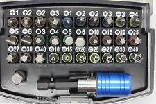 32 teil Bits Set Profi mit Magnetischem + Einrast Bit Halter in Box mit Gürtel