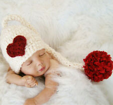 Newborn Baby Girls Heart Love Costume Knit Hat Cap Photography Photo Prop Outfit