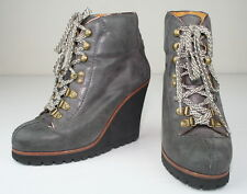 Ash Gray Leather Zenith Lace Up Wedge Hiking Boots Shoes 38 8