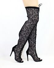 Dollhouse Shallow Open Toe Lace up Thigh high over the knee Stiletto Heel Boots