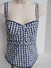 Ladies Hollister Blue White Plaid Check Corset Bustier Padded Underwire Straps