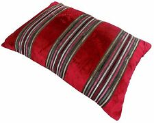 PENZANCE RED SILVER THICK STRIPED SOFT VELVET BOUDOIR CUSHION COVER 40X60CM #RAB