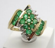 10K YELLOW GOLD ROUND EMERALD AND ROUND DIAMOND ACCENT CLUSTER RING RETAILS $525