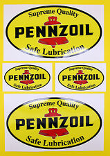 Classic Car Rally/Race PENNZOIL sticker set 2 large 2 small GLOSS LAMINATED