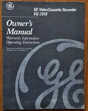 """Ge """"Vg-7910"""" Vhs - Video Cassette Recorder (Vcr) Owner'S Operating Manual"""