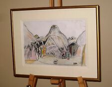 OLIVIA WILLES Original Pencil & Crayon Drawing Mud Houses, Kutch Village, India