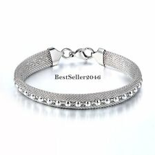 Silver Stainless Steel 9mm Mesh Bangle Womens Ladies  Bracelet w Beads 7.6  inch