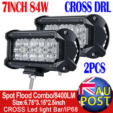 "2pcs 7"" 84W 7D PHILIPS Spot&Flood LED Work Light Bar Offroad SUV UTE Boat 60W"