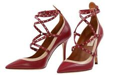 NEW VALENTINO GARAVANI LOVE LATCH ANKLE STRAP LEATHER HEELS PUMPS SHOES 37/US 7