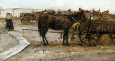 Impressionism oil painting horse eating grass with carriage Hand painted canvas