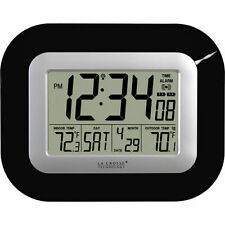 La Crosse Atomic Wall Clock Wireless Outdoor Temperature Sensor Indoor Black