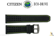 Citizen Eco-Drive B612-S084059 23mm Black Leather Watch Band w/ Green Stitching