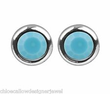 December Birthstone 4mm Turquoise Crystal Gem Ear Studs Earrings + gift bag