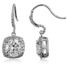 BERRICLE Sterling Silver Round Cut CZ Halo Fish Hook Dangle Drop Earrings