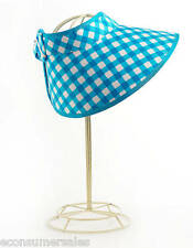 Kate Spade Gingham Roll Up Visor Blue Adjust Turquoise Sun Hat Picnic Garden NWT