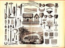 1890 ARCHEOLOGY, Stone Age and Bronze Age Tools,  Stone Axes Antique Print