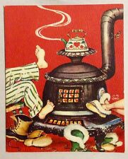 Mr & Mrs Warming Feet near Pot Belly Stove 1940s Vintage Christmas Greeting Card