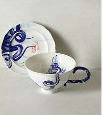 AnthropologiE From The Deep Cup And Saucer Sets Octopus Ships Anchors