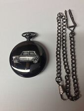Mini City ref152 pewter effect car on a Polished Black case mens Pocket Watch