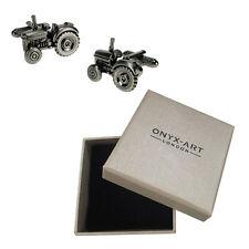 Mens Farm Tractor Silver Cufflinks & Gift Box By Onyx Art