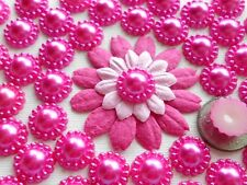 100 Beautiful Deep Pink Pearl Flower Flatback Embellishments - 12mm/0.4""