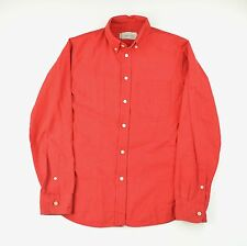 Wings + Horns Faded Bright Red Oxford Cloth Button Down Slim Fitting Shirt M