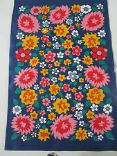 Vintage new old stock linen tea towel flower power navy blue floral 60s 70s