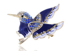 Lady Gift Rhinestone Accented Goldend Enamel Painted Winged Bird Pin Brooch