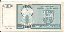 CROATIA, 10000 DINARA, 1992