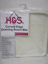 New H And S Curved Edge Draining Board Mat Natural Rubber 40cm X 41cm Off White