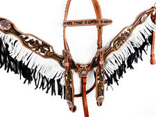 TWO TONE FLORAL WESTERN LEATHER HORSE FRINGE BRIDLE HEADSTALL BREASTCOLLAR TACK