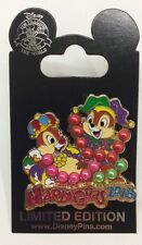 Disney Pin Mardi Gras 2016 Chip and Dale with Beads and Crown LE HTF Rare Pin