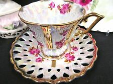 MADE IN JAPAN TEA CUP AND SAUCER  FOOTED FLORAL ROSE PATTERN TEACUP OPEN EDGES