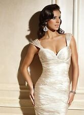 TERANI COUTURE C436 Champagne Sleeveless Ruched Dress 6 $440 NEW FREE Ship to US