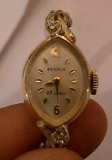 Vintage Women`s 14k Gold Benrus 23 Jewel Diamond Accented Watch GM4B3 WORKS