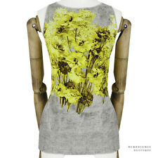 Giambattista Valli Yellow Grey Tones Floral Pattern Slim-Fitting Top IT44 UK12