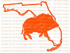 Solid Hog Boar over the Florida State Outline Hunter Vinyl Decal Sticker Hunting