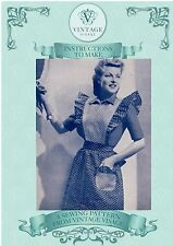 Vintage diagram sewing pattern-3 1940s wartime aprons-made from scraps,leftovers