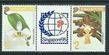 Singapore stamps - 1993 Singapore95 Orchids gutter pair MNH flowers