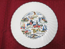 """COLLECTORS PLATE 9 1/2"""" with Silver trim on the rim MARYLAND"""