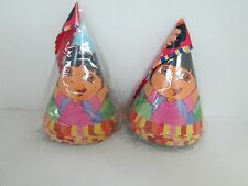 DORA THE EXPLORER PARTY HATS 8 Pk - LOT OF 2 PACKAGES - PARTY SUPPLIES