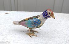 FINE Chinese Cloisonne BRASS Enamel ORNATE FLORAL GILD BIRD Statue MINI FIGURE