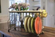 French Country Shabby~Metal/Wood Dish/File/Magazine Rack-10 Slot~Tabletop/Wall