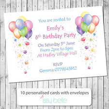 Personalised Childrens Birthday Party Invitations Thank You Cards Balloons