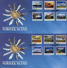Norfolk Island 2012 FDC Aircraft Landing 70 12v S/A Cover Boeing Fokker Stamps