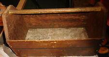 Antique Vintage Handmade Primitive Wooden Tool box Cutlery Caddy w/ Wood Handle