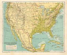 1891 VICTORIANO MAP ESTADOS UNIDOS &A MÉXICO NEBRASKA NEVADA OREGON CUBA TEXAS