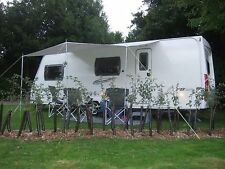 CARAVAN SUN CANOPY IN BLUE 3 METRES X 150CM WITH 3 UPRIGHT POLES