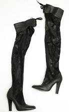 STELLA MCCARTNEY Black Vegan Leather Square-Toe Lace-Up Thigh Boots 8.5-38.5